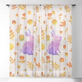 Abstraction_Rabbit_Wonderland_Floral_001 Sheer Curtain