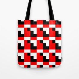 Red black step pattern Tote Bag