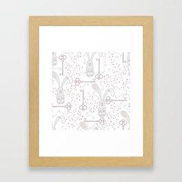 Bunny and Keys Framed Art Print
