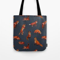 foxes Tote Bags featuring Foxes by Katelyn Patton
