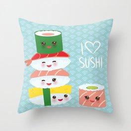 I love sushi. Kawaii funny sushi set with pink cheeks and big eyes, emoji. Blue japanese pattern Throw Pillow