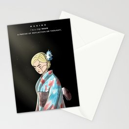 Musing Defination Artwork with a Kimono Cyborg Female Anime Character Stationery Cards