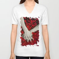 hands V-neck T-shirts featuring Hands by MARIA BOZINA - PRINT