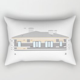 Detailed private house facade elements, architectural technical drawing, vector  Rectangular Pillow
