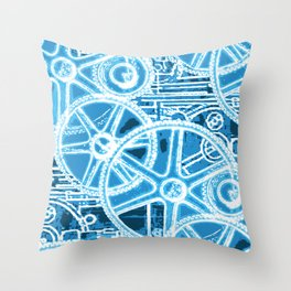 Geared Up ( Big Blue) Throw Pillow