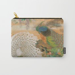 Peacocks In Paradise Vintage Oriental Art Carry-All Pouch