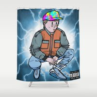 marty mcfly Shower Curtains featuring HEAVY McFLY by Michael Shantz