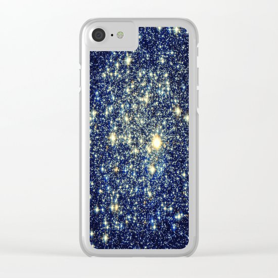 galaxY Stars : Midnight Blue & Gold Clear iPhone Case