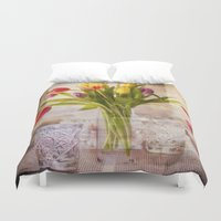 tulips Duvet Covers featuring Tulips by Fine Art by Rina