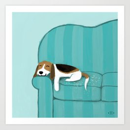 Happy Couch Beagle Art Print