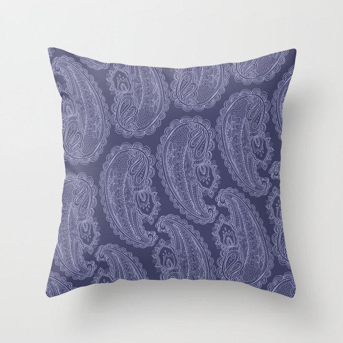 Purple Paisley Throw Pillow
