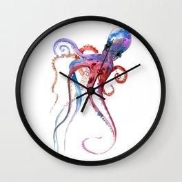 Octopus, blue red purple octopus art, octopus design Wall Clock