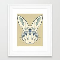 hare Framed Art Prints featuring Hare by Sloni