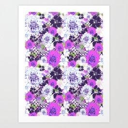 Croc Floral Goes Purple Art Print