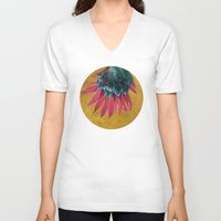 heels V-neck T-shirts featuring HEAD OVER HEELS by INA FineArt