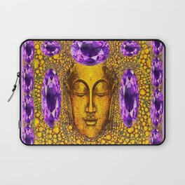 ART NOUVEAU AMETHYST PURPLE & GOLD BUDDHA ABSTRACT Laptop Sleeve