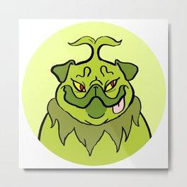 Christmas Nostalgia - Grinch Pug Metal Print