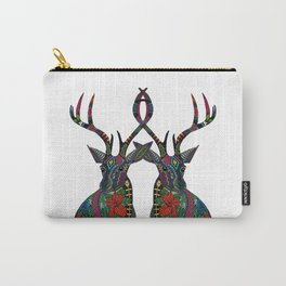 poinsettia deer white Carry-All Pouch