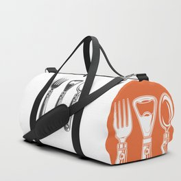 Life set. Lover to eat. Hungry. Glutton. Food Lover. Spoon and a fork. Heavy eater. Eat. Food. Duffle Bag