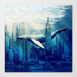 Blue Whale in NYC Canvas Print