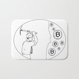 Bitcoin Miner Cryptocurrency Drawing Bath Mat
