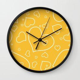 Mustard Yellow and White Hand Drawn Hearts Pattern Wall Clock