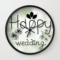 wedding Wall Clocks featuring wedding by luiza13