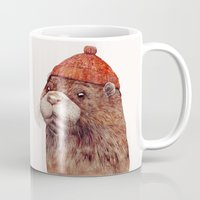 otter Mugs featuring River Otter by Animal Crew