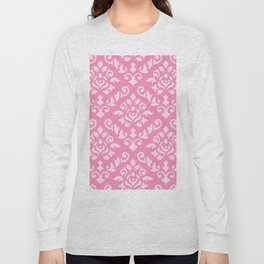 Damask Baroque Pattern Light on Dark Pink Long Sleeve T-shirt