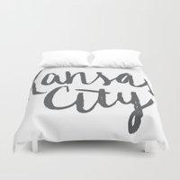 kansas city Duvet Covers featuring Kansas City Brush Lettering by Jonelle Jones
