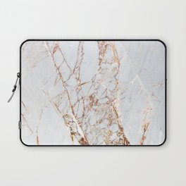 Gold Grey and White Sparkle Marble Laptop Sleeve