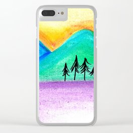 Mountains sunset landscape Clear iPhone Case