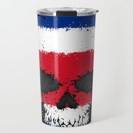 Flag of Costa Rica on a Chaotic Splatter Skull Travel Mug
