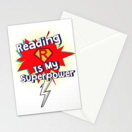 Reading is My Superpower for Book and Literature Fans Stationery Cards