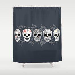 Celebracion de Gris_Calaveras Sugar Skulls line_RobinPickens Shower Curtain