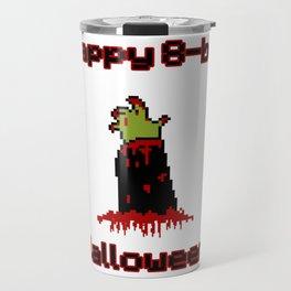 Happy 8-Bit Halloween Undead Zombie Arm Retro Video Game graphic Travel Mug