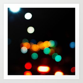 Blurred City Lights Art Print