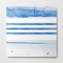 nautical stripes: blue Metal Print