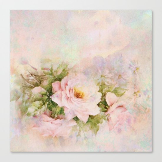 delicate vintage rose Canvas Print
