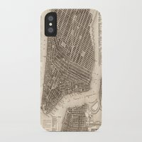 new york map iPhone & iPod Cases featuring New York Map by Le petit Archiviste