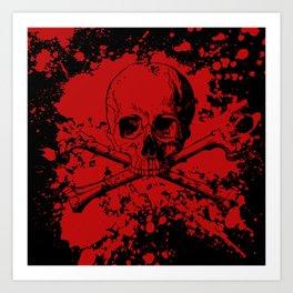 Skull and Crossbones Splatter Pattern Art Print