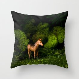 A Small Brown Horse in the Valley Throw Pillow
