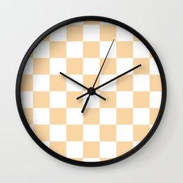 Checkered - White and Sunset Orange Wall Clock