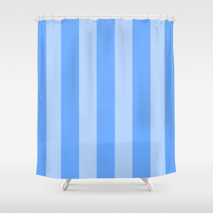 Sky Blue Stripes Shower Curtain By Colorpopdesign