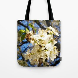 bees on flower Tote Bag