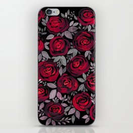 Watercolor red roses on black background iPhone Skin