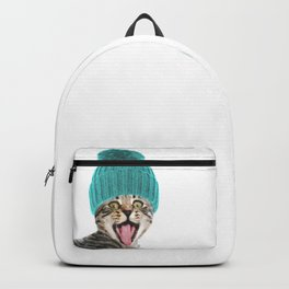 Cat with hat illustration Backpack