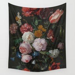 Still life with flowers in a glass vase, Jan Davidsz. de Heem, 1650 - 1683 Wall Tapestry