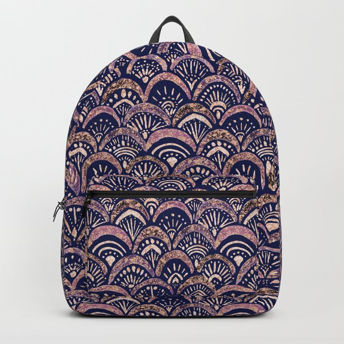 Mermaid Medallion Autumn Blush backpack by Crystal Walen