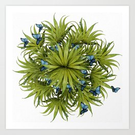 """El Bosco fantasy, tropical island blue butterflies 02"" Art Print"